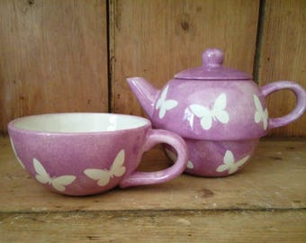 Tea For One - Handmade Ceramic Tea Pot and Cup Stackable Set Butterfly Design