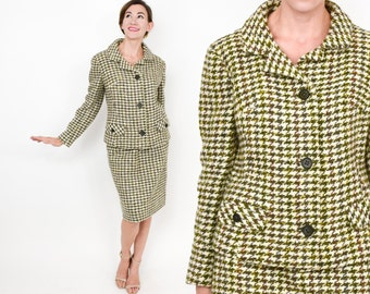 60s Olive Green Houndstooth Wool Suit | Green Irish Tweed | Perry of Dublin, Ireland | Medium