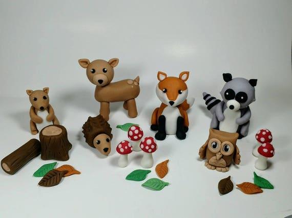 Woodland Animal Fondant Cake Toppers