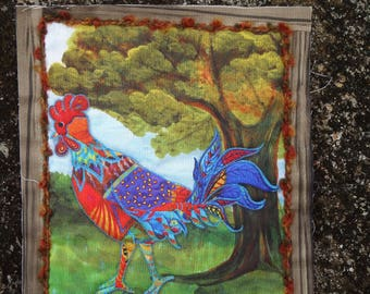 Rooster Quilted Wall Hanging / Rooster Fiber Art / Rooster