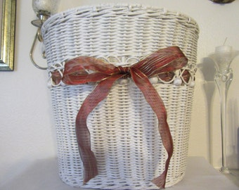 Basket Wicker Wastepaper With Rust and Gold Ribbon BowUnique Vintage White Wicker Collector Awesome Gift Idea Bedroom Bathroom Basket