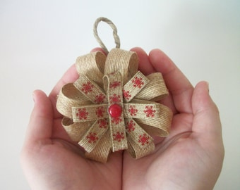 Rustic Burlap Bow Ornament, FREE SHIPPING Handmade Christmas Ornaments, Rustic Gift Tags, Christmas Gifts, Gift Bows, Burlap Snowflake