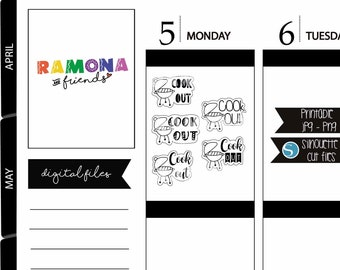 Cook out stickers/happy stickers/Planner Stickers/Hand drawn/Ramona and friends/COD141