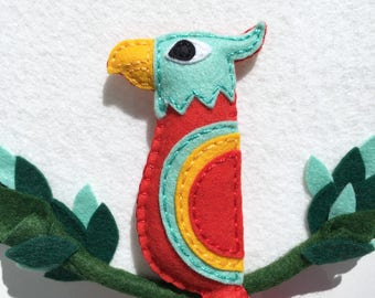 Embroidery hoop art, Parrot hoop, exotic bird, felt red parrot plush in forest decor, modern whimsical decor, hand sewn decor, OOAK