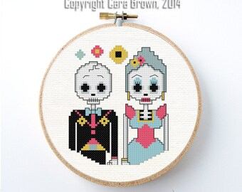 Day of the Dead Couple Cross Stitch Pattern Download Skeleton Bride and Groom Wedding Dia De Los Muertos