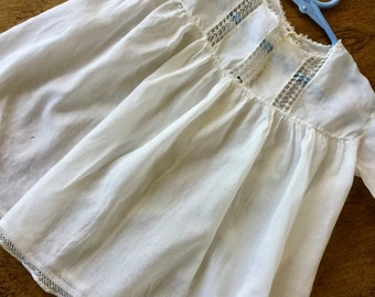 Antique baby dress, tatted lace, ivory