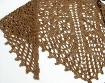 Alpaca Shawl, Knitted Tan Shawlette, Triangle Wrap for Women, Scarf Shawl, Lace Shawl