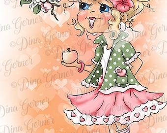 Instant Download Digital Stamp Digi Stamp Apple Curly Girls by Dina Gerner