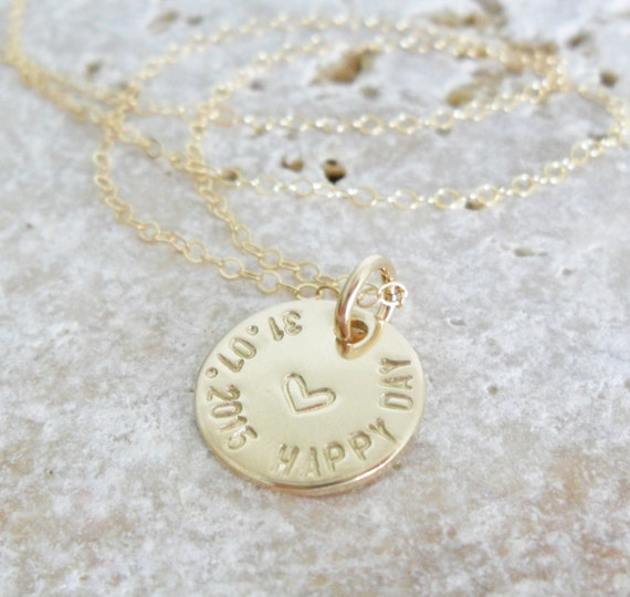 Happy Day Necklace | Wedding Day Necklace | Custom Date Necklace | Gold Fill Disc | Leaf Jewelry | Wedding Date | Custom Text | 14k GF