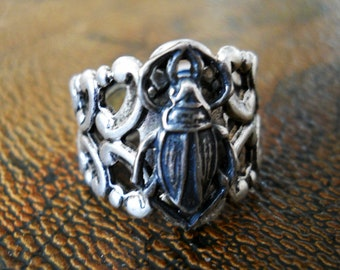 Scarab Beetle Adjustable Sterling Silver Plated Filigree Ring, Exclusive Design Only by Enchanted Lockets