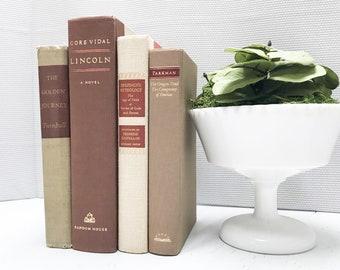 Brown Vintage Books for Shelf Decor, Old Books, Modern Farmhouse