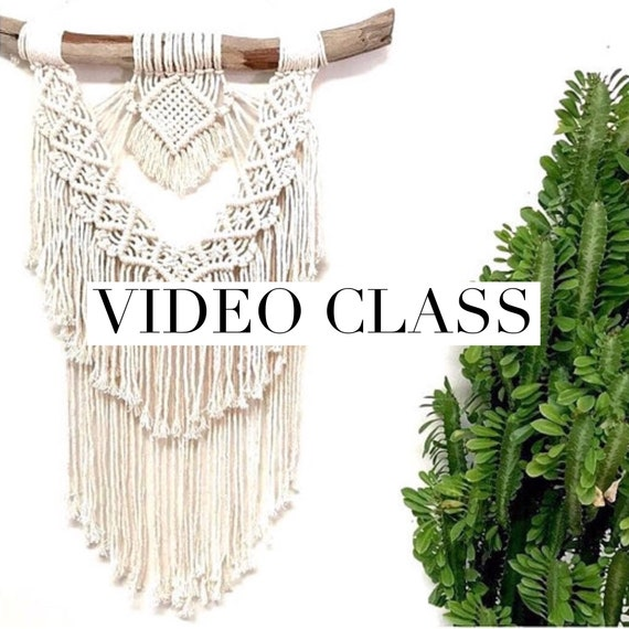 "Macrame Wall Hanging Class - Intermediate- Advanced Video Tutorial ""Love Beam"""