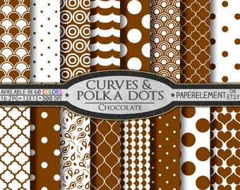 Chocolate Brown Polka Dot Digital Paper: Brown Scrapbook Paper, Brown Dots, White and Brown Digital Polka Dot Background