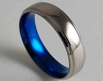Neptune Band in Nightfall Blue with Comfort Fit Interior , Titanium Ring , Wedding Band , Promise Ring