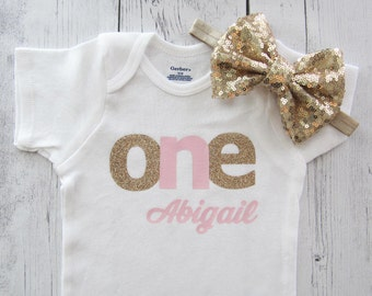 Personalized First Birthday Onesie for Girl - pink and gold, baby girl first birthday outfit, cake smash, first birthday shirt, personalized