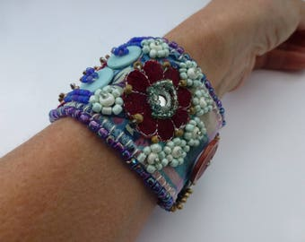 VINTAGE velvet EMBROIDERED, button and bead handcrafted cuff. UK seller
