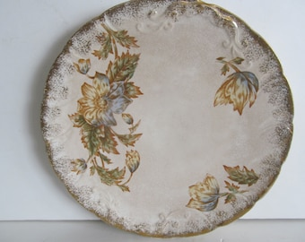 Farmhouse Distressed Antique Plates Transfer ware  Transferware Blue and Yellow China Warwick China Embossed edges Gold Trim Plates