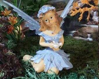 Fairy Garden Miniature Fairy for your Fairy Garden, Sweet Lavender Fairy with a Dove, Garden Fairy, Sitting Fairy, Sparkle Fairy, Faerie