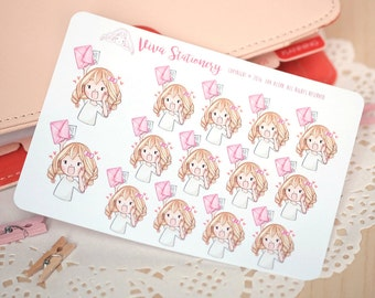 Kawaii Girl Happy Mail Stickers Version 2 ~Valerie~ For your Life Planner, Diary, Journal, Scrapbook...