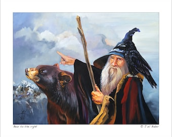 """Wizard, Raven and Bear Print - """"Bear to the right"""" - 8x10 Storytelling Illustration Reproduction"""