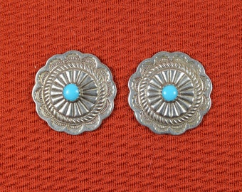 Native American Navajo Conch Button Earrings
