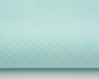 100% cotton fabric piece 160 x 50 cm, textile printing, cotton points 2 Gold 7 mm on mint background, cottontextile