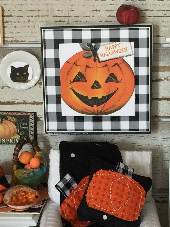 """Miniature Halloween Pumpkin Art Canvas 2 1/2"""" x 2 1/2"""""""