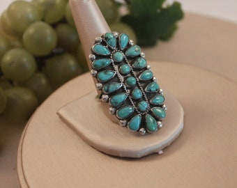 Size 11.5 Vintage Navajo Sterling Silver and Turquoise Cluster Ring - Victor Moses Begay, Signed VMB in Excellent Condition