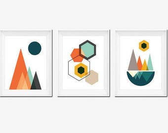 Set of 3 Prints, Mid Century Modern Art, Wall Art Set, Geometric Prints, Instant download, Hexagon Art, Mountain Art, Contemporary Art