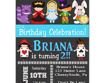 Alice in Wonderland Invitation, Birthday Party Invitation, Personalized Alice in Wonderland Birthday Party Invitation for Kids and Adults