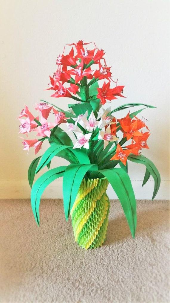 3d origami flower vase centerpice wedding decor home like this item mightylinksfo Images