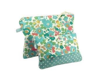 Blue Floral Makeup Bag Set, Zipper Cosmetic Bag with Pocket Tissue Holder, Liberty Zipper Pouch