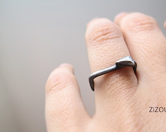 Square Silver Stacking  Ring with faceted tiny triangle
