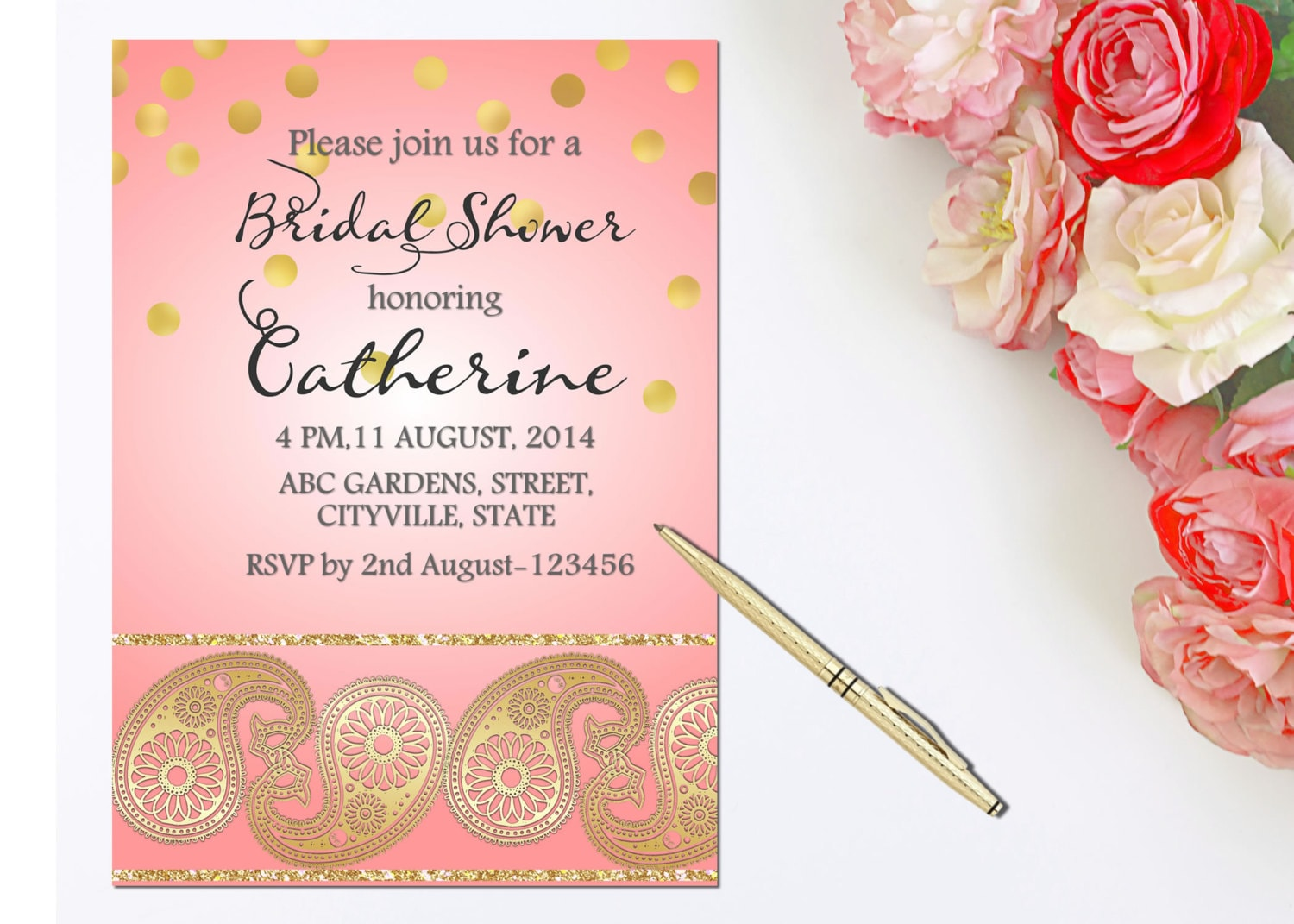 Blush rose gold invitation Mehndi party Indian invitations