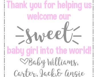 Thank you gift for nurses at hospital during labor and delivery, gift for nurses, hospital bag, baby girl, candy basket, OB nurses printable