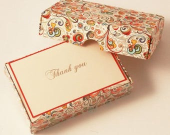 Art-Nouveau Flowers Thank You Cards Italian Letterpress