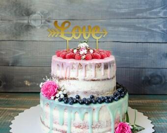 Customizable LOVE Wedding Cake Topper, Glitter Gold cake topper, Custom Color cake topper, Wedding Cake, personalized wedding Cake Topper