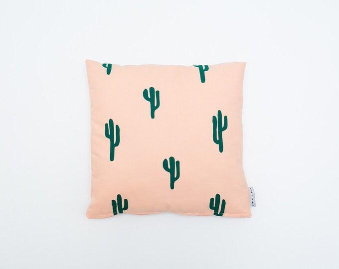 Cactus Print Pillow - Peach & Green - 16x16