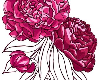 April Peonies: Flower print 8x10