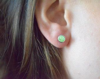 14Kt White Gold Green Sapphire Bezel Stud Earrings
