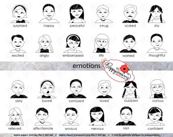 Emotions Clipart & Digital Flashcards: Digital Image Set (300 dpi) School Teacher Clip Art Digital Feelings Emotions Pre-K Kindergarten