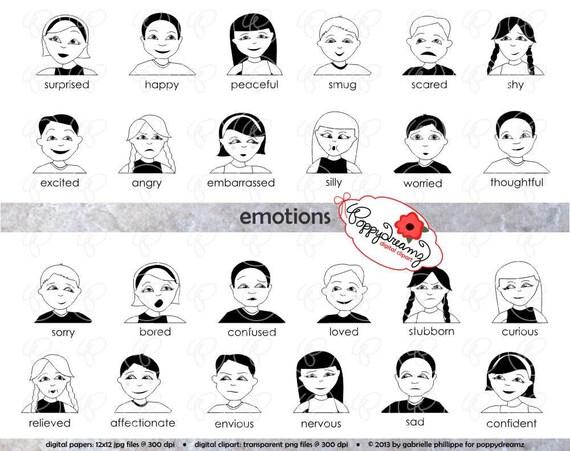 Emotions Clipart & Digital Flashcards: Digital Image Set 300