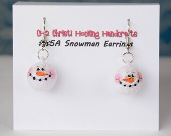 Whimsical Hand-Painted Snowman Earrings, Snowman Christmas Earrings