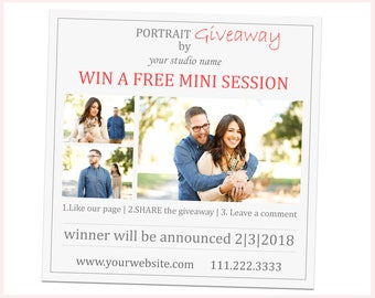 Photography Giveaway Template, Photography Marketing Template Photoshop, Mini Session Template, Social Media Template, Facebook Template