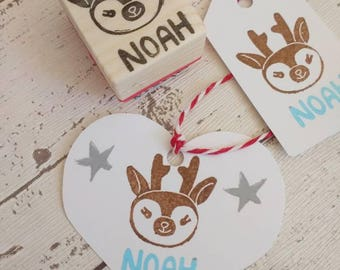 Reindeer personalised stamp - children's name stamp - Christmas stamp - rubber stamping - holiday gift wrap