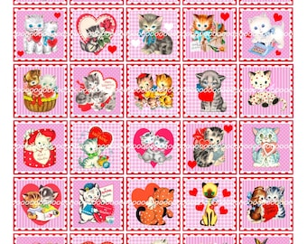Digital Clipart Stamps, instant download, Vintage Valentines, kittens kitties kitty cat cats mailman hearts roses  (8.5 by 11 inches) 1402