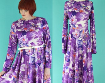 Vintage 70s Purple Floral Dress - Full Skirt Dress - Long Sleeve Dress - Spring Dress - Fit and Flare Dress - Midi Dress - Size Large