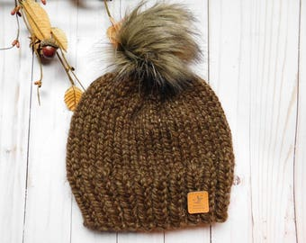 Winter hat for boys. hat for boys with faux fur pom pom. RTS hat. OOAK child hat. Brown hat.