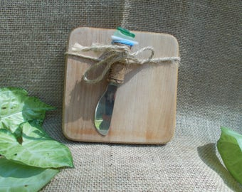 Wood Square Cutting Board With Cork and Faux Sea Glass Cheese Spreader