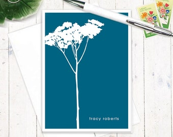 personalized note cards - TREE - set of 8 folded notecards - stationery - stationary - nature - botanical